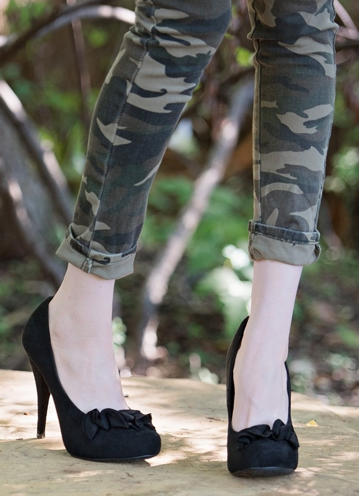 Denim, Graphic Tee, Camo Pants and Black High Heels