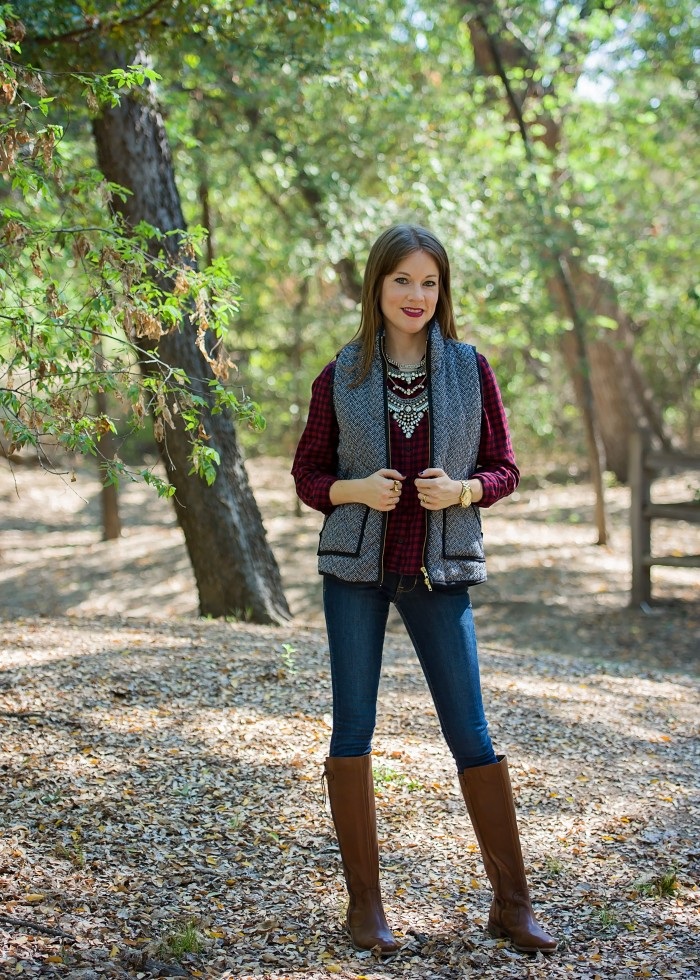 Herringbone Vest, Plaid Shirt, Skinny Jeans, Riding Boots & Statement Necklace