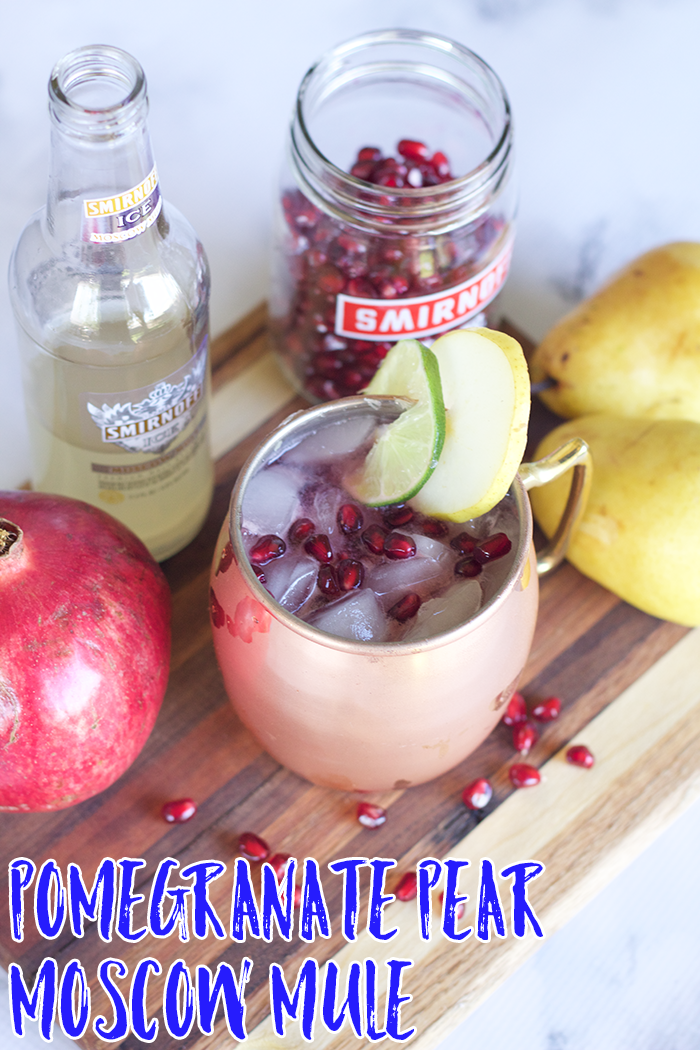 The perfect fall version of the classic Moscow Mule: Pomegranate Pear Moscow Mule