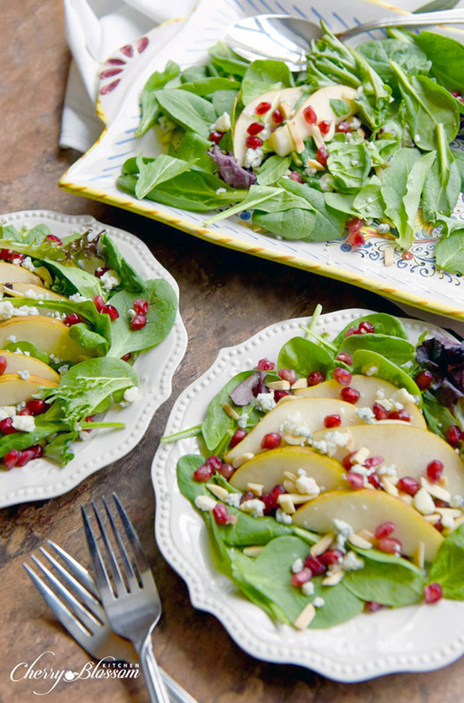 Pear and Pomegranate Salad with Gorgonzola Crumbles CherryBlossomKitchen.com 2