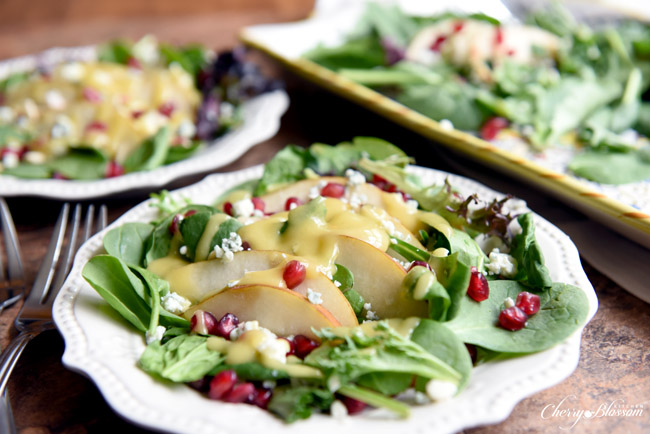 Pear and Pomegranate Salad with Gorgonzola Crumbles CherryBlossomKitchen.com 3