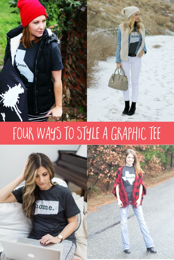 Wondering how to style a Graphic Tee? Check out these 4 ways to style The Home T, graphic tee!