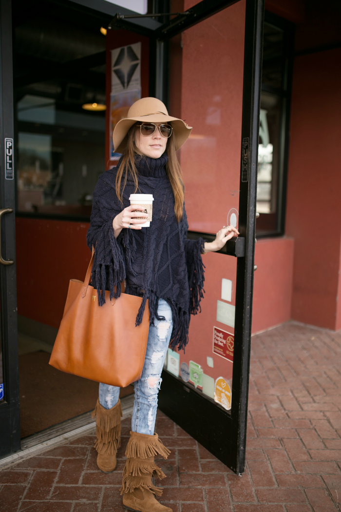 Planning Session at Avoca Coffee - Oversized Sweater Poncho with Fringe