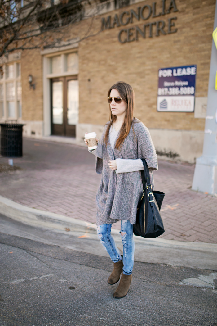 Draped Open-Front Cardigan, Skinny Jeans, Wedge Booties
