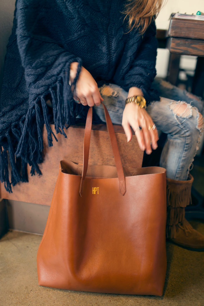 Oversized Sweater Poncho and Leather Tote