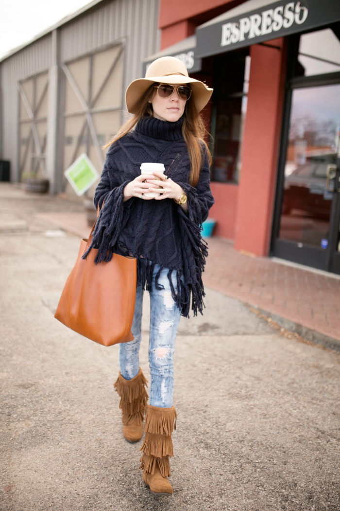 Oversized Sweater Poncho with Fringe Boots