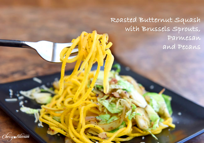 Roasted Butternut Squash with Brussels Sprouts Parmesan and Pecans CherryBlossomKitchen.com