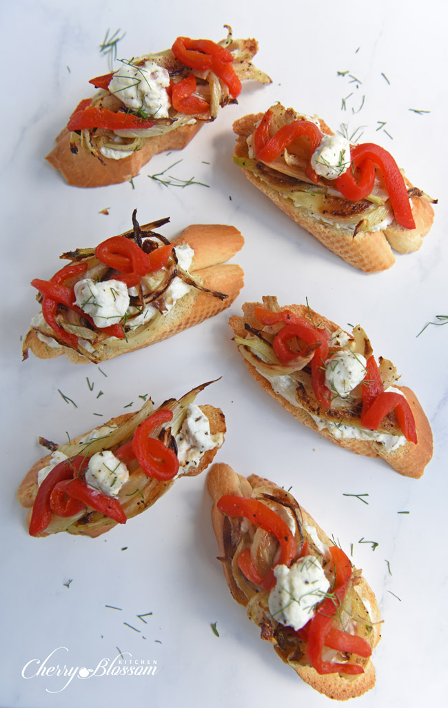 Carmelized Fennel Tartines with Red Pepper and Herbed Goat Cheese 1 CherryBlossomKitchen.com