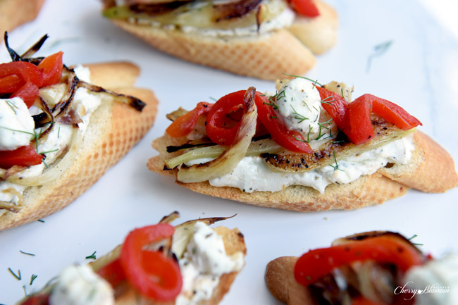 Carmelized Fennel Tartines with Red Pepper and Herbed Goat Cheese 6 CherryBlossomKitchen.com