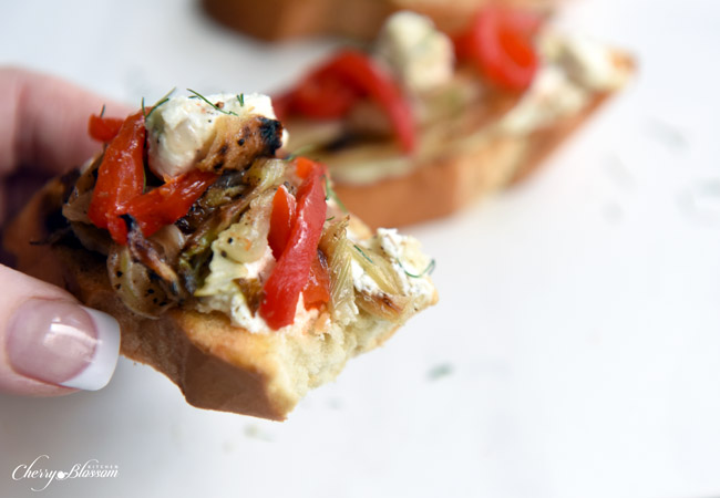 Carmelized Fennel Tartines with Red Pepper and Herbed Goat Cheese 7 CherryBlossomKitchen.com