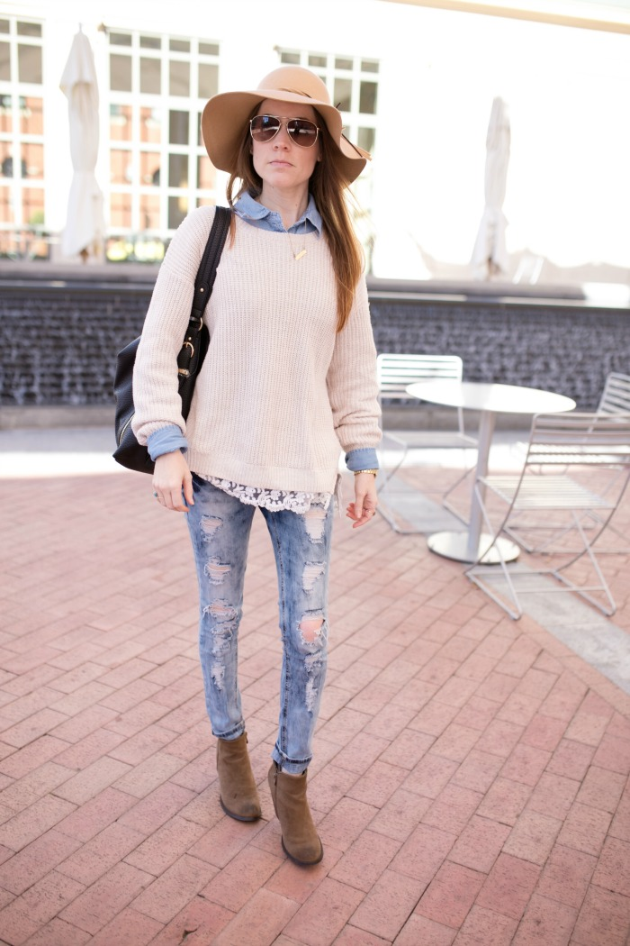 How to Wear Booties: Chunky oversized sweater, chambray, distressed jeans, floppy hat
