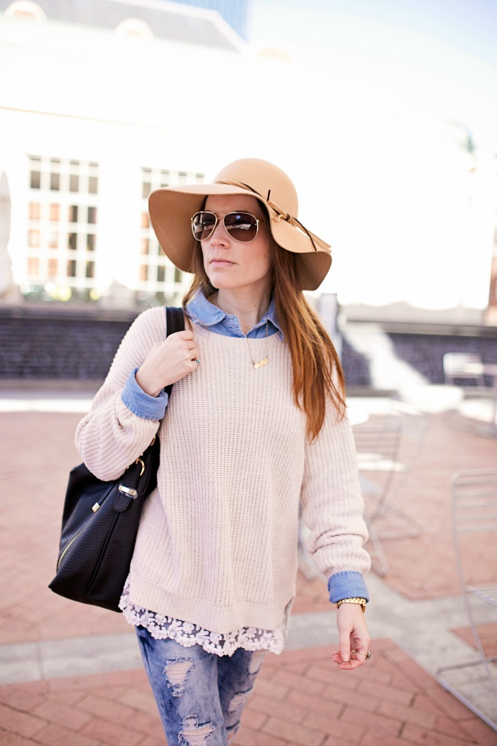 Oversized Sweater, Chambray, Distressed Jeans, Floppy Hat
