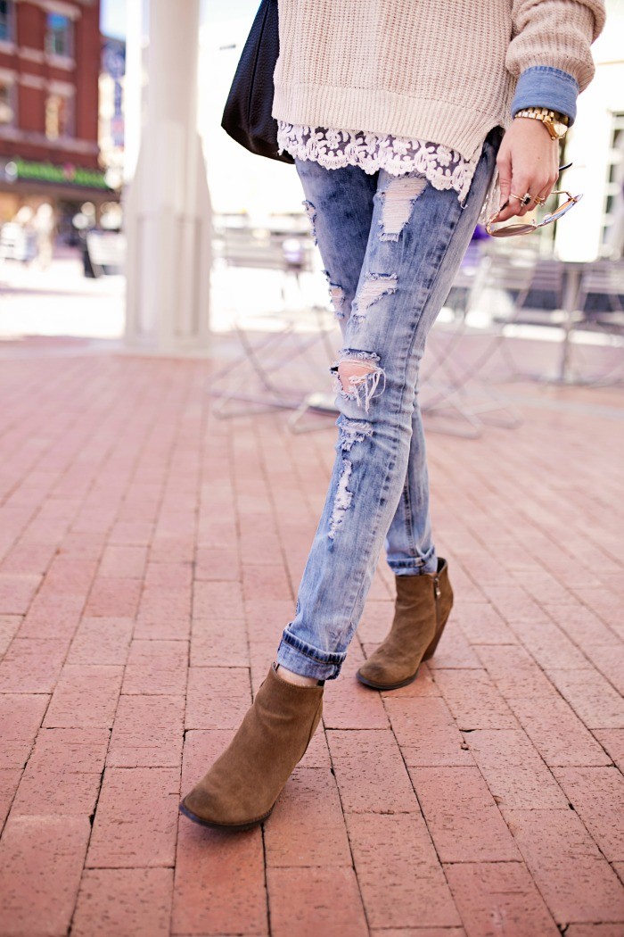 Distressed Jeans and Booties