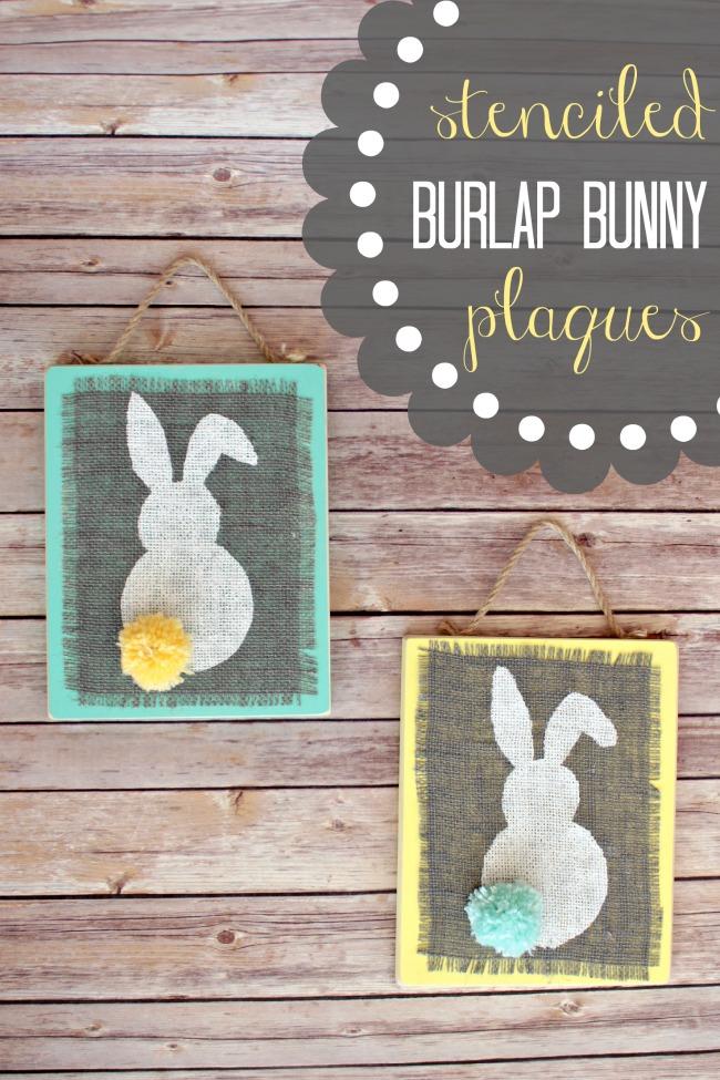 Stenciled-Burlap-Bunny-Plaques