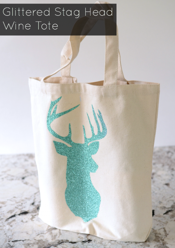 How To: Glittered Stag Head Wine Tote