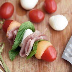 Cantaloupe Prosciutto Skewers with Mozzarella and Tomatoes
