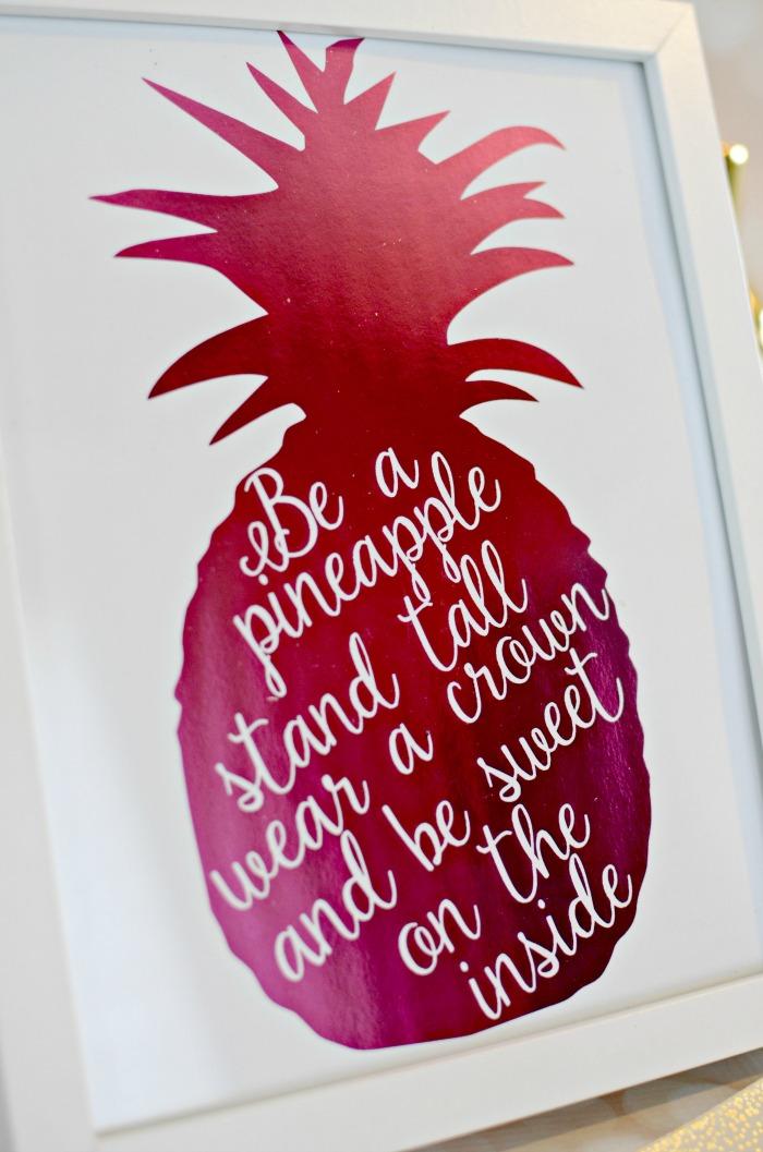 DIY Pink Foiled Pineapple Print 2