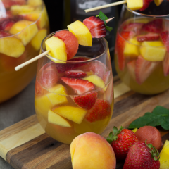 Summer Sangria with Peaches, Strawberries & Watermelon