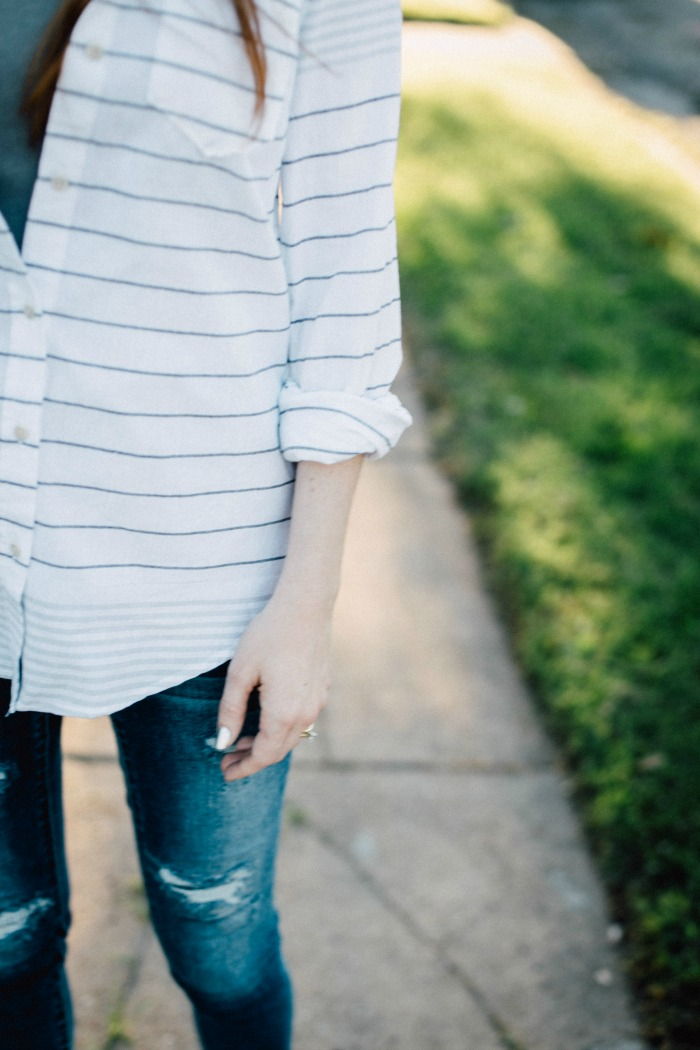 How to Style a White Striped Shirt