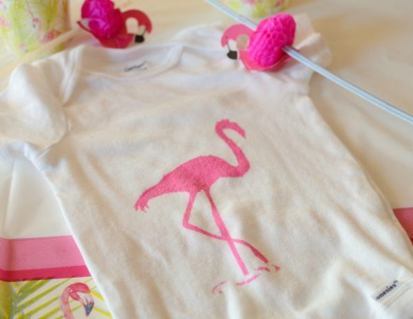 Easy DIY Painted Flamingo Onesie