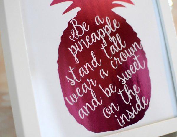 DIY Pink Foiled Pineapple Print