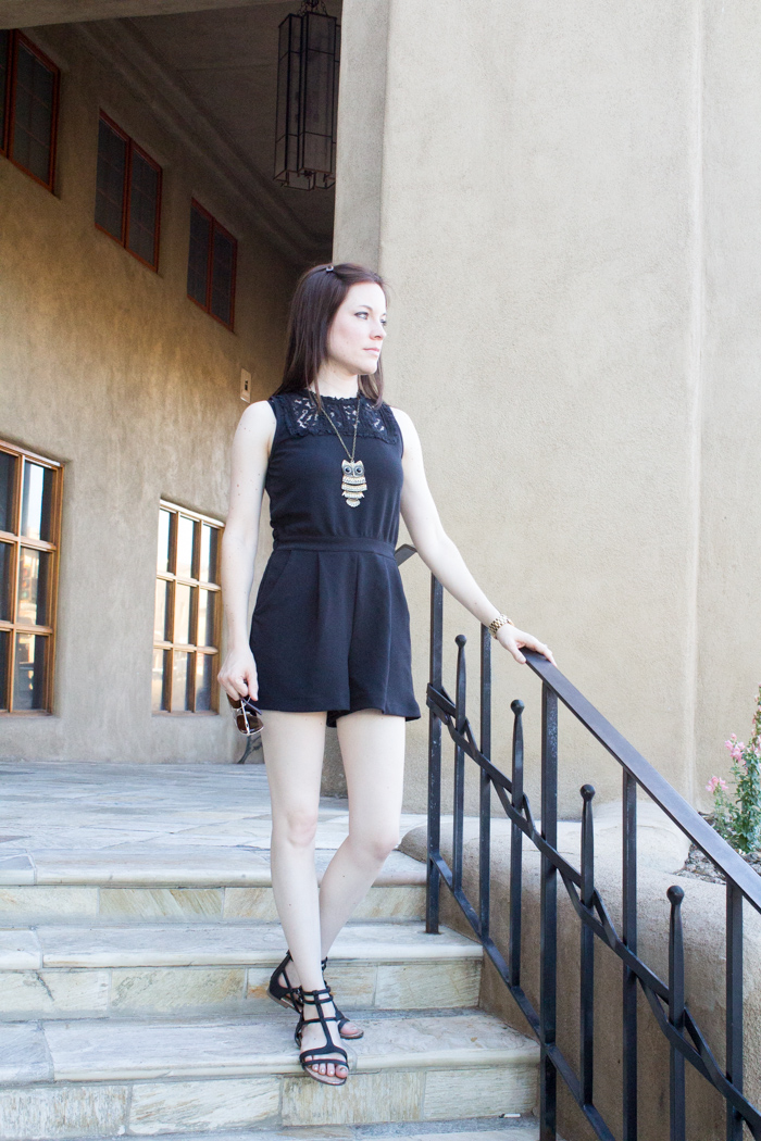 What to Wear in Santa Fe, NM - Black Romper and Gladiator Sandals from Target