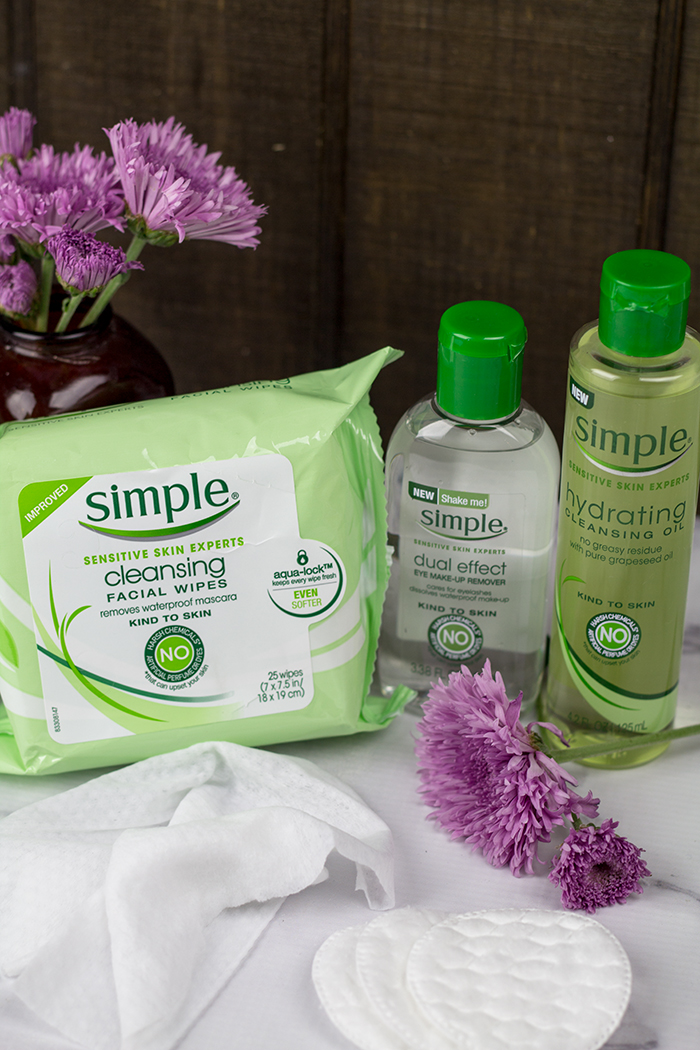 Simple Skin Care products: Cleansing Facial Wipes, Hydrating Cleansing Oil and Dual Effect Eye Makeup Remover