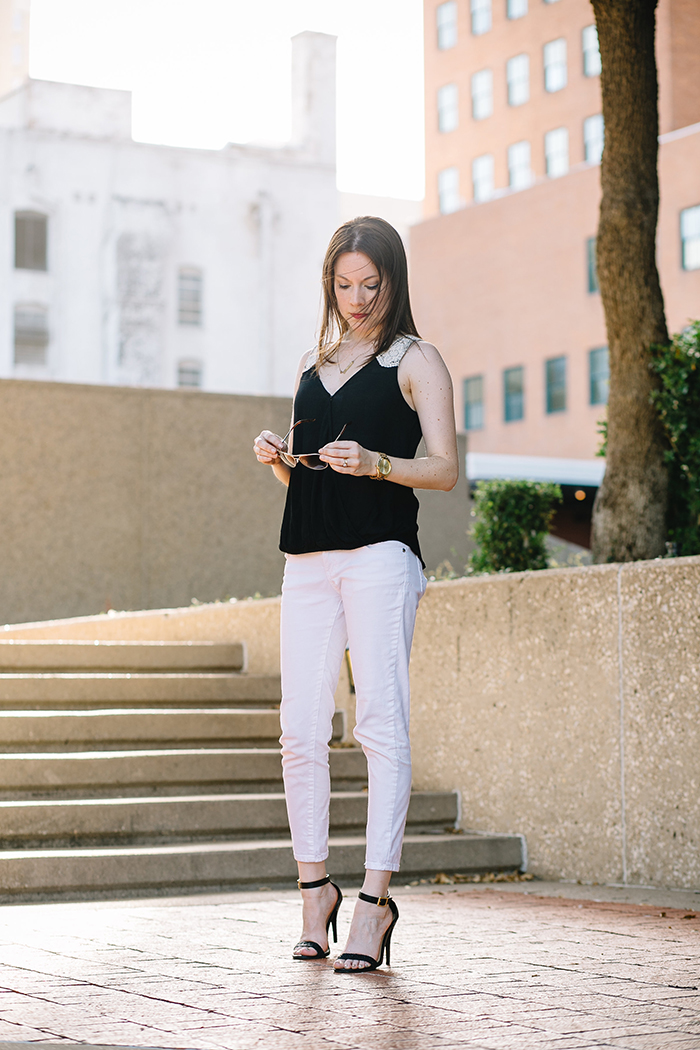Who said you had to stop wearing white after Labor Day? This simple black & white look is a perfect transition outfit from summer to fall.