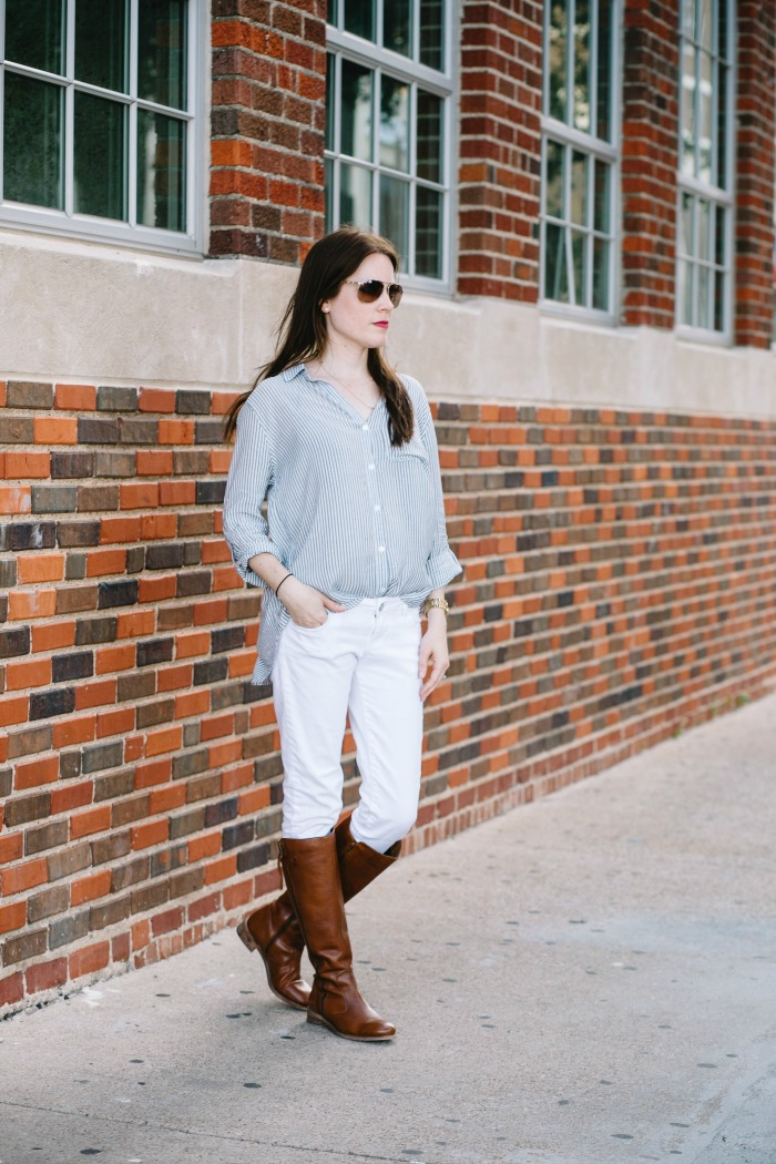 How to Style White Jeans for Fall with a pair of Riding Boots and Striped Boyfriend Shirt