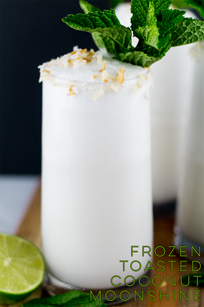 Looking for a new cocktail beverage to try? Love coconut? This Frozen Toasted Coconut Moonshine recipe should be on your list!