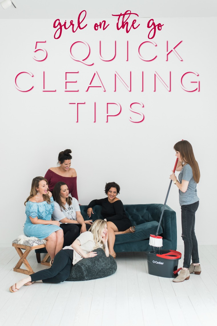 Are you a girl on the go and not a huge fan of cleaning? Me either. So I'm sharing my 5 quick cleaning tips to keep your home in order even when you'd rather not clean!